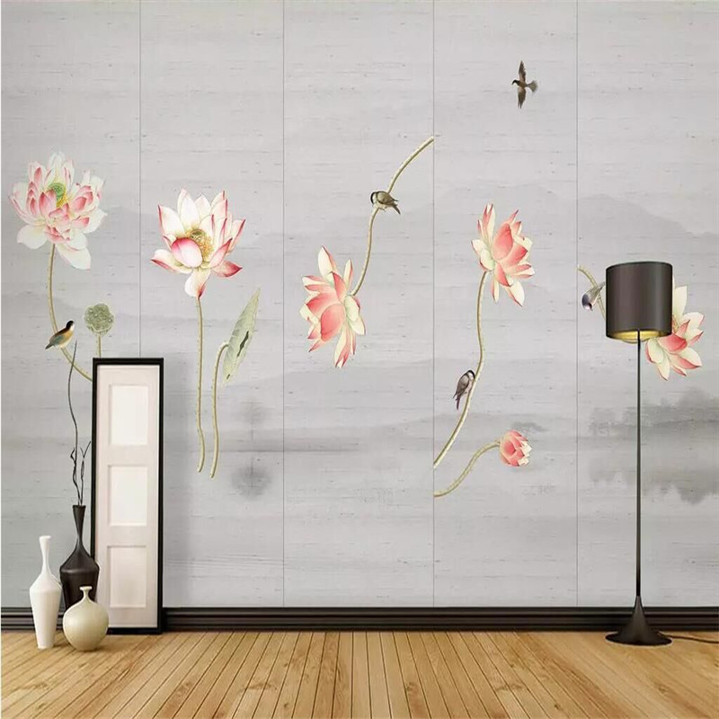 Ink lotus picture five paintings decorative painting professional custom high-end murals manufacturers wholesale wall