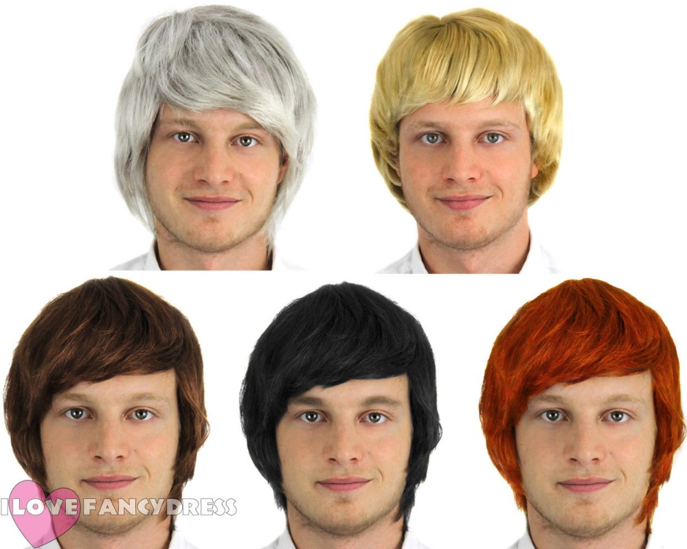 MENS SHORT HAIR WIG BLACK RED BROWN BLONDE GINGER GREYBOY BAND ADULT MALE FANCY DRESS COSTUME ACCESSORY 60S 70S 80S 90S