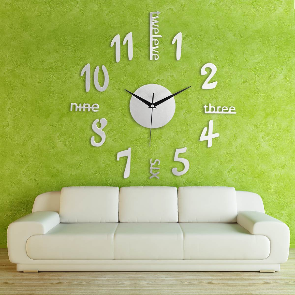 Large Silver Letters For Walls 3D Mirror Acrylic Wall Clock Sticker Surface Large Number Letters