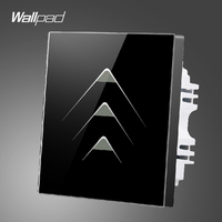 Wallpad Smart Home 3 Gang 2 Way Luxury Black Crystal Glass Lights Switches Touch Switch Wall