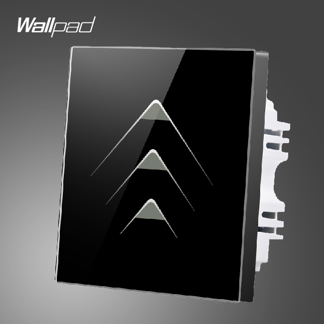 Wallpad Smart Home 3 Gang 2 Way Luxury Black Crystal Glass Lights Switches Touch Switch Wall Panel ,Free Shipping