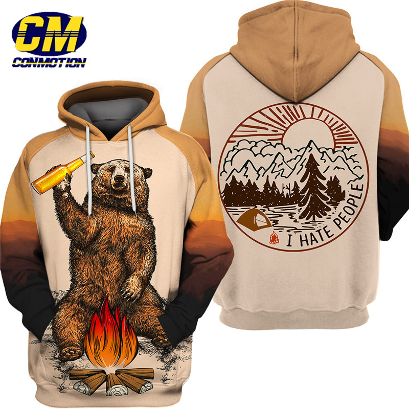 3D Bear Beer Bonfire Print Cool Sweatshirt Men's Hoodie Fashion Camping Hoodie(China)