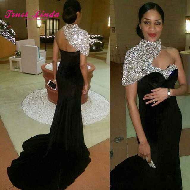1e6ffeec Gorgeous Crystal Bride Mother Evening Dress High Neck One Shoulder Mermaid  Velvet Mother of The Bride Dresses For Weddings