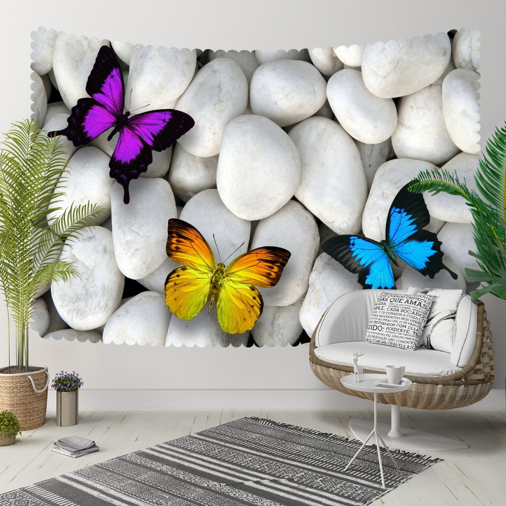 Else White Pebble Stone Purple Yellow Blue Butterfly 3D Print Decorative Hippi Bohemian Wall Hanging Landscape Tapestry Wall Art