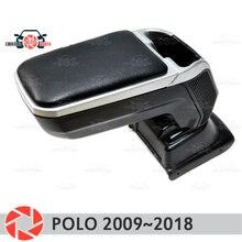 Подлокотник для Volkswagen Polo 2009 ~ 2019 подлокотник автомобиля центральная консоль кожаный ящик для хранения Пепельница аксессуары автомобильный Стайлинг m2