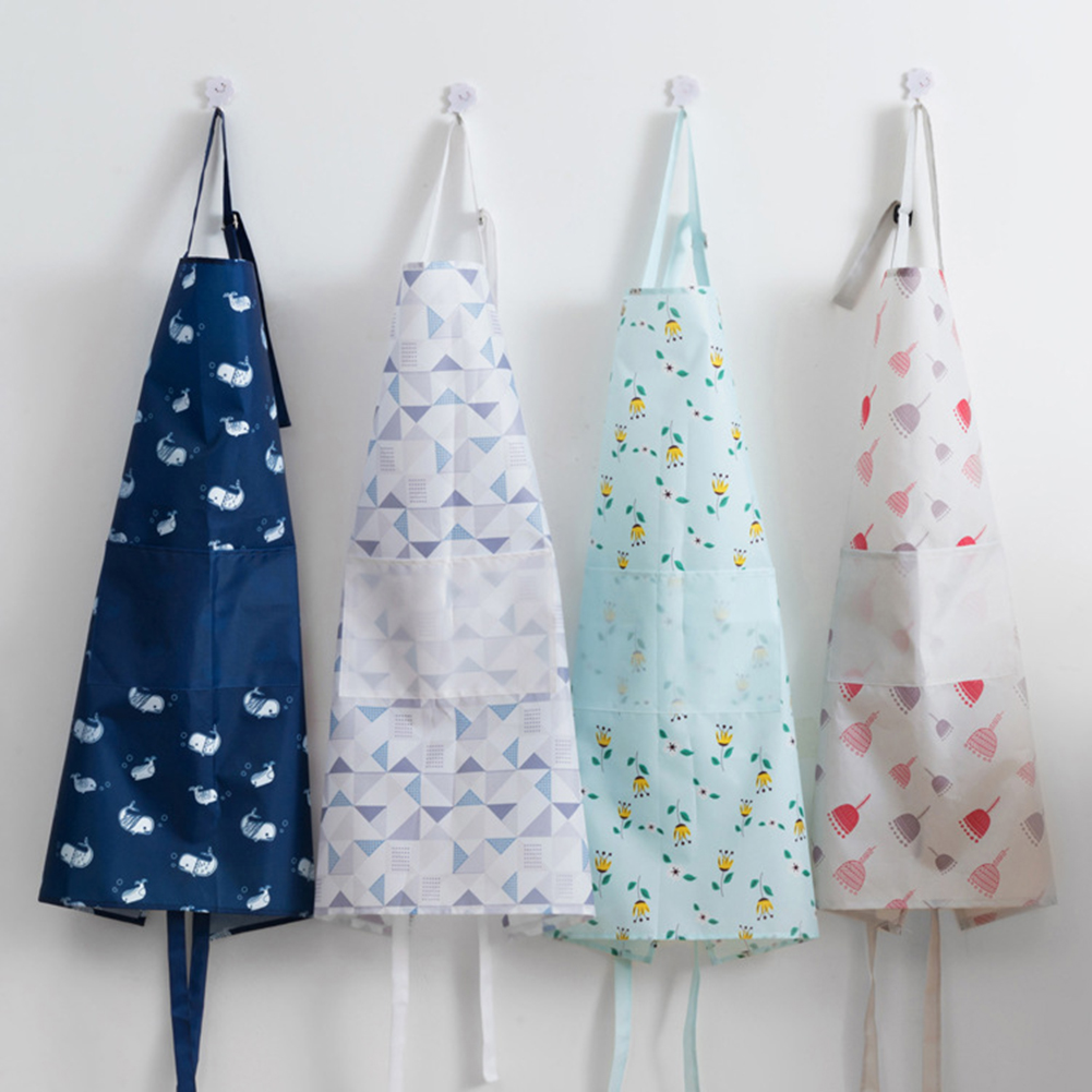 Lady Kitchen Oil Resistant Waterproof Pocket Lock Floral Print Cooking Apron