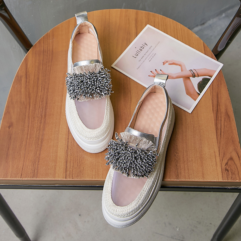 Women Shoes Sneakers Women Platform Transparent Tassel Metal Leather Casual Shoes Women 6cm 2019
