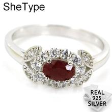 2.8g Luxury Real Red Ruby White CZ Gift For Girls 925 Solid Sterling Silver Rings 14x8mm