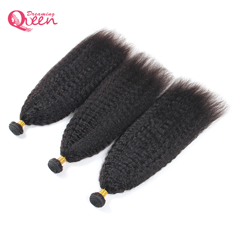 Dreaming Queen Hair Kinky Straight Brazilian Remy Hair Bundles Natural Black Color 100% Human Hair Extension Weave Free Shipping