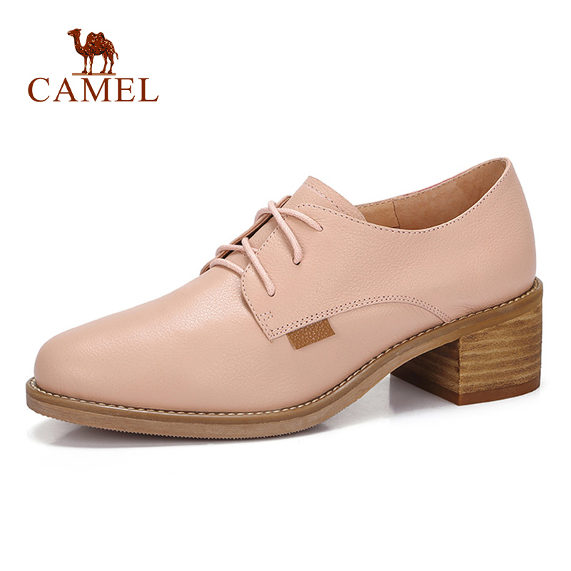 CAMEL Spring New Fashion Pink Casual Women Single Shoes Women Genuine Leather Retro Dress Shoes For