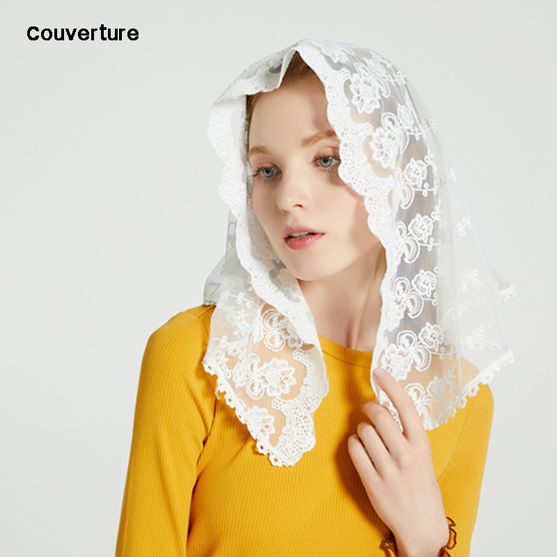 Couverture Women Fashion D Shape Lace Chapel Veil Mantilla Christian Headcovering For Church Prayer Lace Scalloped Scarf