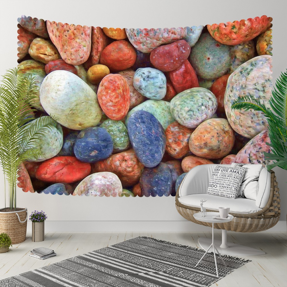 Else Blue Brown Orange Red Sea Colored Pebble Stones 3D Print Decorative Hippi Bohemian Wall Hanging Landscape Tapestry Wall Art