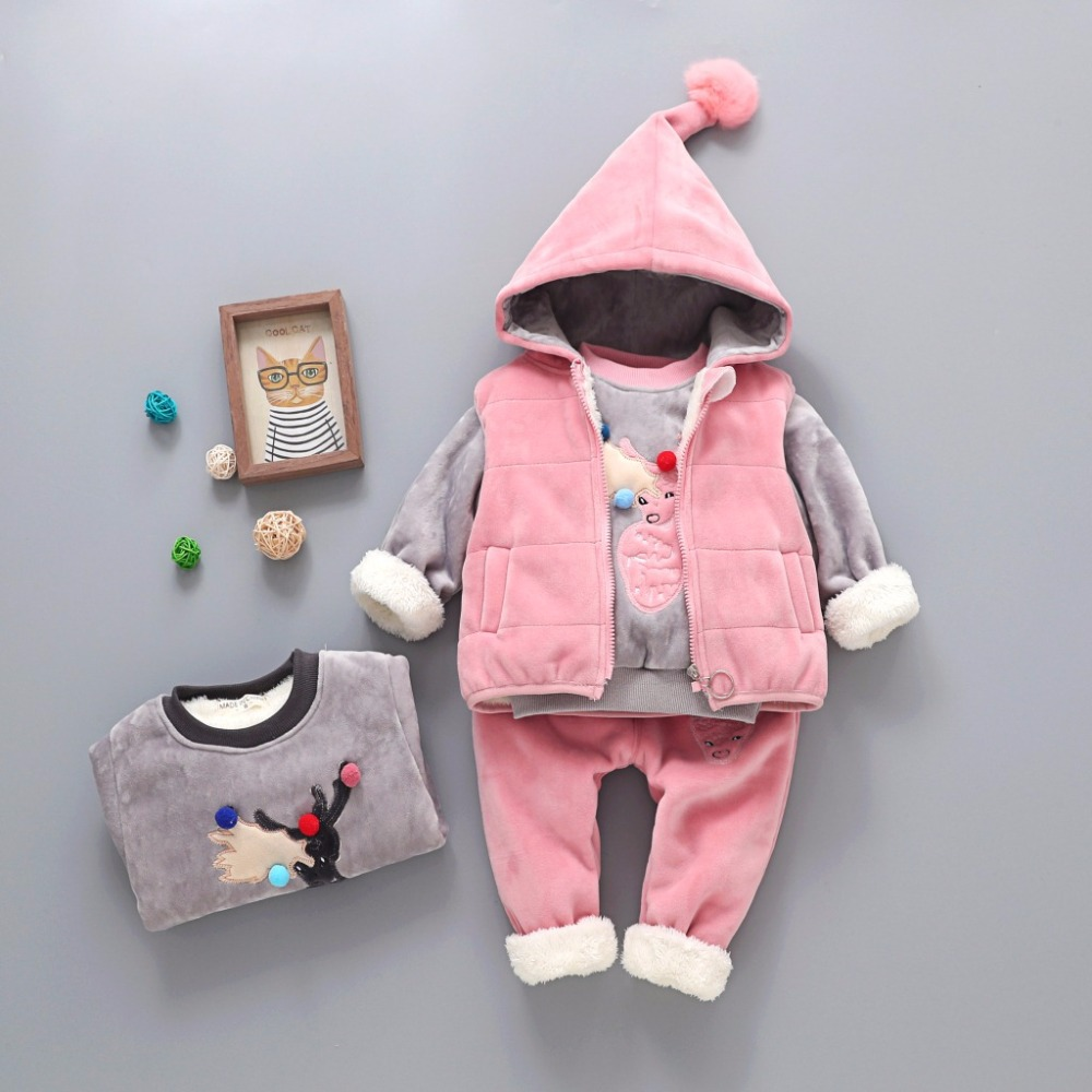 New Fashion Winter Baby Boy/Girl Pleuche Clothing Set Cartoon Deer 3PCS Hoodied+Vest+Pant Children Clothing Set Baby Suit 12M-3T free shipping new arrival winter fashion children clothing set leisure 100% sweater pants vest girl suit