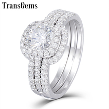 TransGems Solid 10K White Gold Engagement Bridal Set Center 1ct 6MM Square Cushion Cut Halo Moissanite Ring Set for Women helon vintage 1930s natural lightest blue 6mm round cut aquamarine solid 10k solid white gold art deco women s jewelry fine ring