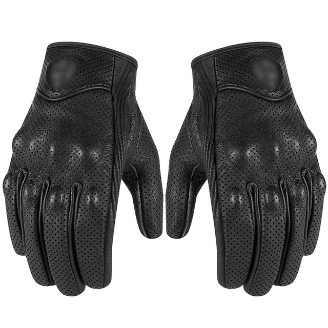 CAR-partment Full Finger Motocycle Leather Touch Screen Mens Women Motorbike Riding