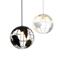 Earth Shape Industrial Vintage Style Chandeliers Simple Wrought Iron Pendant Loft Hanging Ceiling Lamp For Indoor