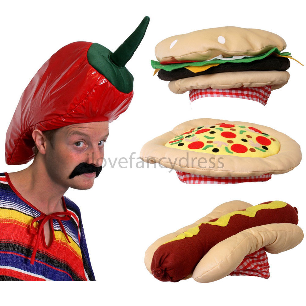 ADULT KIDS NOVELTY FAST FOOD PARTY HAT CHILLI BURGER HOT DOG PIZZA HAT HAMBURGER FUNNY HALLOWEEN BIRTHDAY CHEF PROPS FANCY DRESS