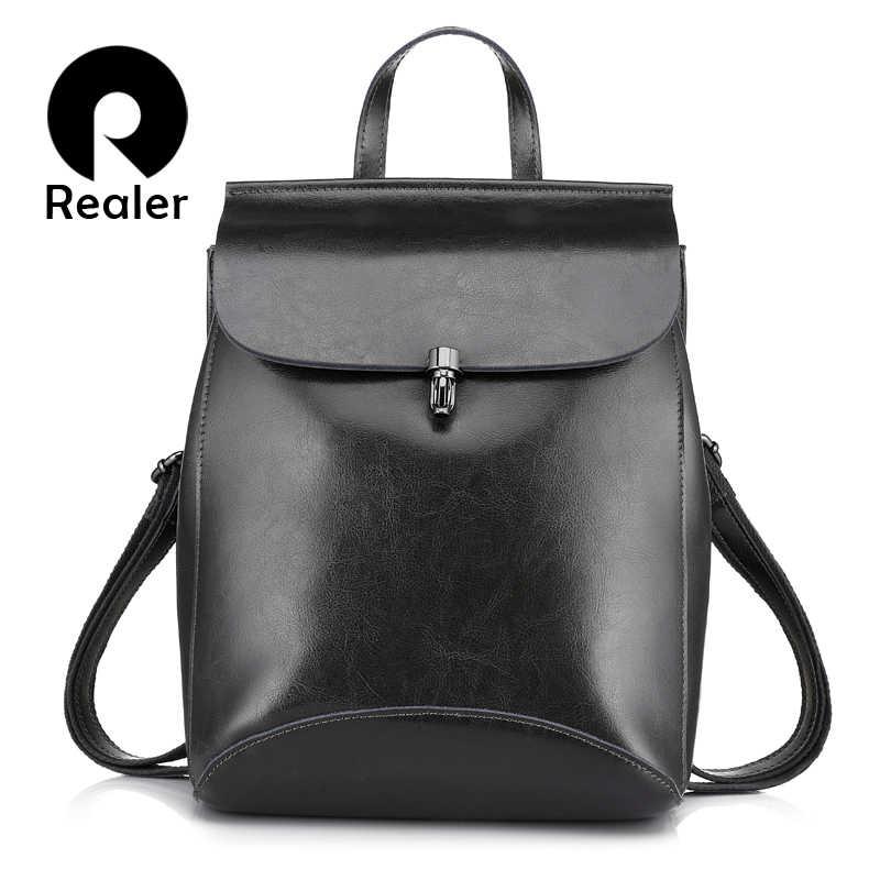 367683f97c3f REALER модный женский рюкзак из высококачественной сплит-кожи, школьный  рюкзаки для девочек подростков,