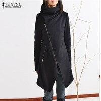 2018 ZANZEA Women Turtle Neck Long Sleeve Zipper Asymmetrical Split Casual Slim Biker Coat Autumn Wool