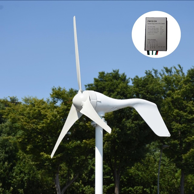 Spain shipping 400W 12V/24V horizontal white wind turbine generator with MPPT/PWM waterproof wind charger controller home use