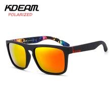 KDEAM 2017 Espejo gafas de Sol Polarizadas de Los Hombres de Verano Deporte Cuadrados Gafas de Sol de Las Mujeres UV400 gafas de sol Con El Caso KD156-C13-1