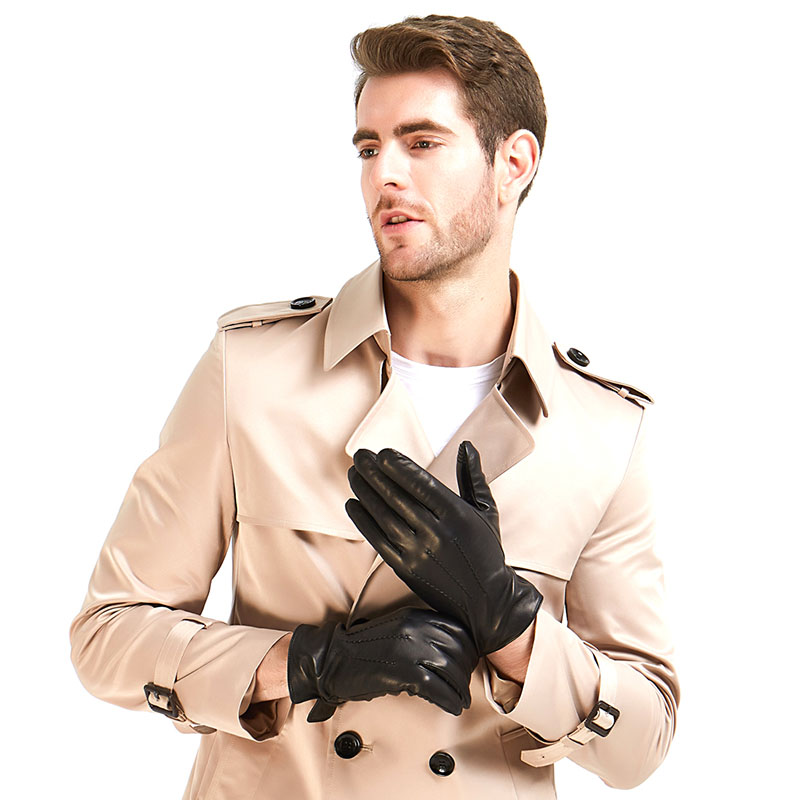 2 Harssidanzar-Mens--Italian-Sheepskin-Leather-Gloves-Wool-Lined-Black-color-Touchscreen