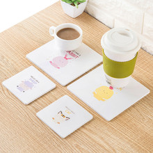 2453 cute cartoon animal model wooden cup mats creative meal padding pan mat insulation antiskid cushion(China)