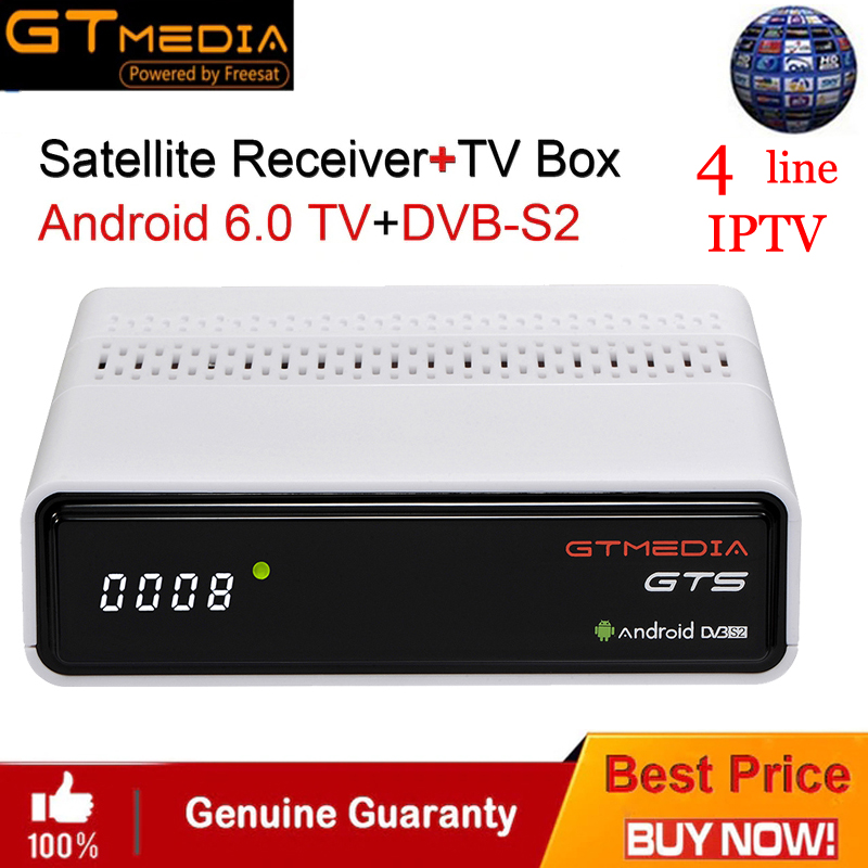 CCCAM IPTV GTMEDIA GTS Satellite Receiver Android6.0 TV BOX+DVB-S/S2 Smart TV BOX Built-In WiFi HD 4K Remote Control Set Top Box best hd iptv box ips2 plus dvb s2 tv receiver 1 year europe iptv 2500 channels dvb s2 usb wifi set top box satellite receiver