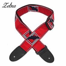 30-49 inches Nylon Embroidery belt Leather Ends Adjustable Vintage Style Electric Acoustic Bass Guitar Strap Belt