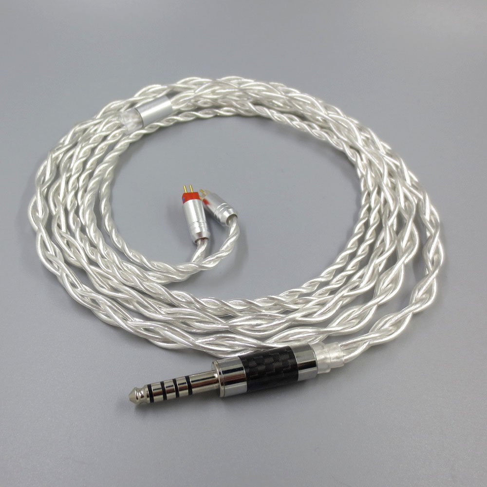 ZSFS 7N Pure Silver Cable 2.5/3.5/4.4mm Balanced Cable With 2pin Connector For Weston 1964 w4r um3x es3 es5 um3rc jh13 Earphone
