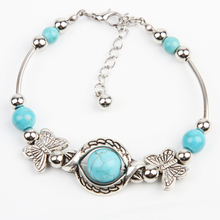 High Quality !22cm Blue  Beads  Tibetan Silver Butterfly Bracelet Handmade Accessories Fashion Jewelry Drop Shipping BL-0130