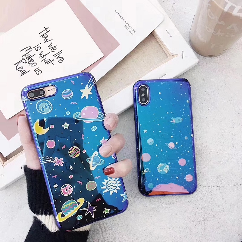 <font><b>Blu-ray</b></font> Starry Sky Print Phone Case For iPhone 6 6s Plus Cute Smile Flower Soft TPU Cover <font><b>Back</b></font> Case For iPhone X 8 7 Plus