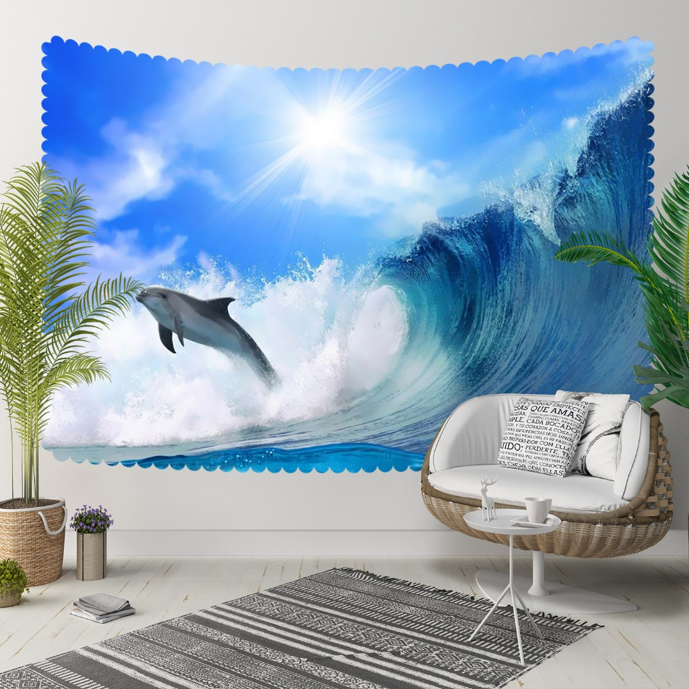 Else Tropical Sea Waves Bouncing Dolphins Sun Shine 3D Print Decorative Hippi Bohemian Wall Hanging Landscape Tapestry Wall Art