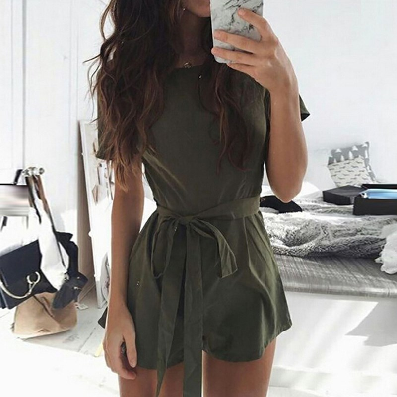 New Fashoin 2017 Summer Rompers Womens Jumpsuit Casual Short Sleeve Short Playsuits Solid O Neck Bandage