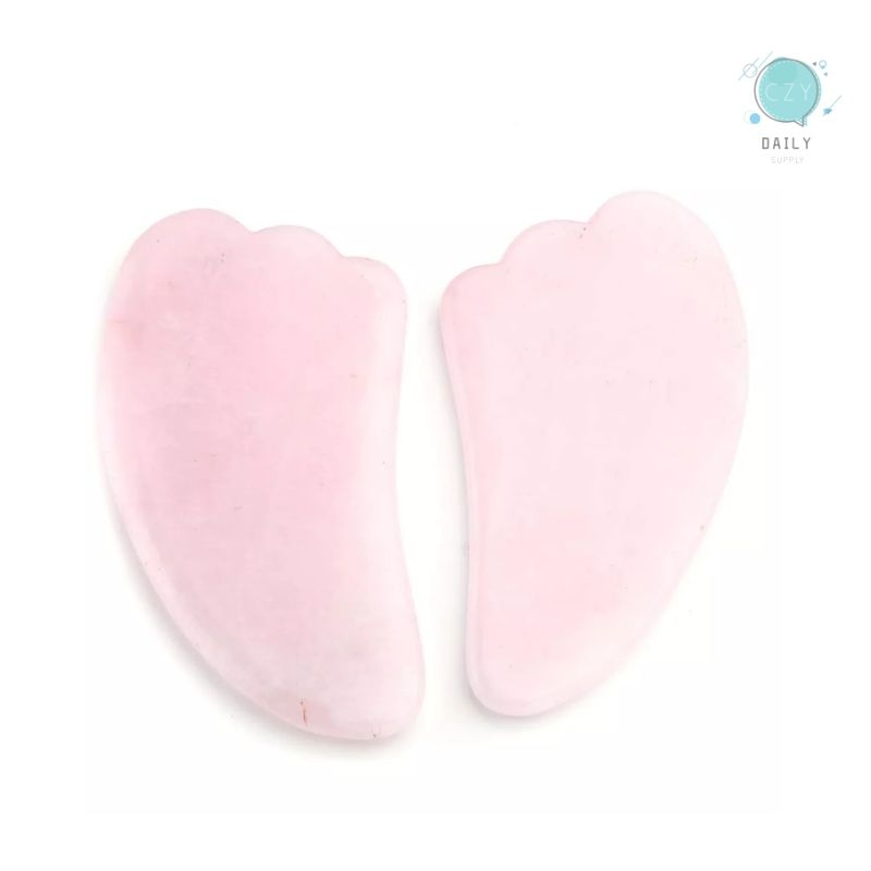 CZY Gua Sha Scraping Massage Tool Natural Rose Quartz Green Aventurine Wing shape Guasha Board Traditional Scraper Tool in Stones from Home Garden