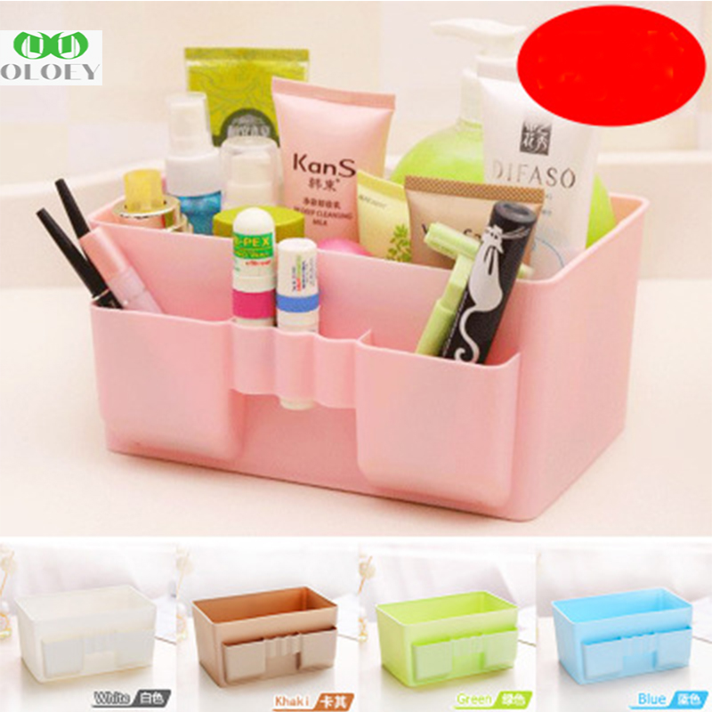 Plastic Makeup Organizer Office Organizer Box Cosmetic Plastic Storage Box Desk Bathroom Cosmetic Storage Box