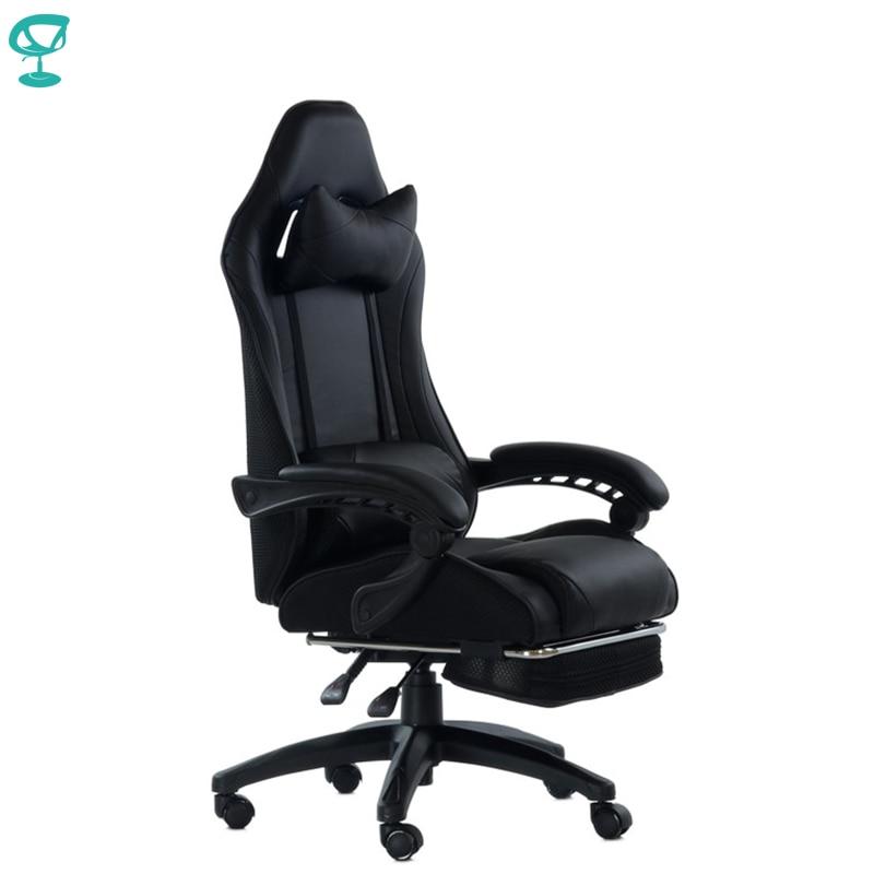 95264 Barneo K-39 noir chaise de jeu ordinateur eco-cuir maille tissu haut dossier plastique accoudoirs livraison gratuite en russie