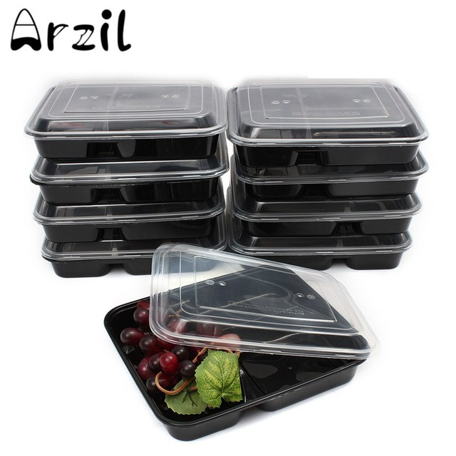 Merveilleux 10Pcs 3 Compartment Food Storage Containers With Lids 39 Ounce Bento Lunch  Box Picnic Food Storage