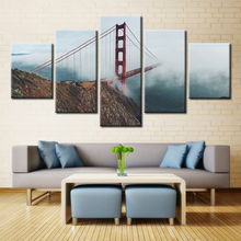 Wall Art Canvas Painting Living Room Home Decorative  Printed 5 Piece Golden Gate Bridge Chain Fog Rope Modular Picture
