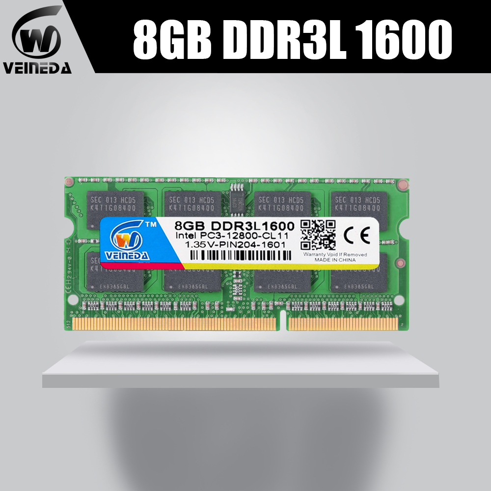 VEINEDA RAM DDR3L <font><b>8GB</b></font> 1333 1066 PC3-12800 1.35V For Intel AMD Compatible 2gb ddr3L memoria ram Non-ECC <font><b>SODIMM</b></font> image