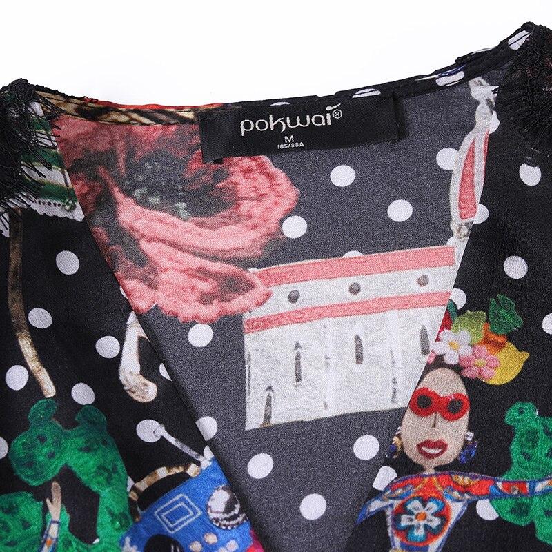 cou Soie Couture Imprimé 2018 Contraste Poignets Couleur Pokwai De Femmes Chemise Fendue V Dentelle Nouveau Multi Automne 6UInn4Yq1