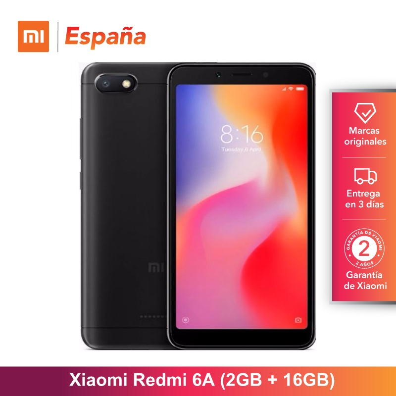 [Global Version for Spain] Xiaomi Redmi 6A (Memoria interna de 16GB, RAM de 2GB, Camara de 13 MP, Bateria de 3000 mAh) Movil