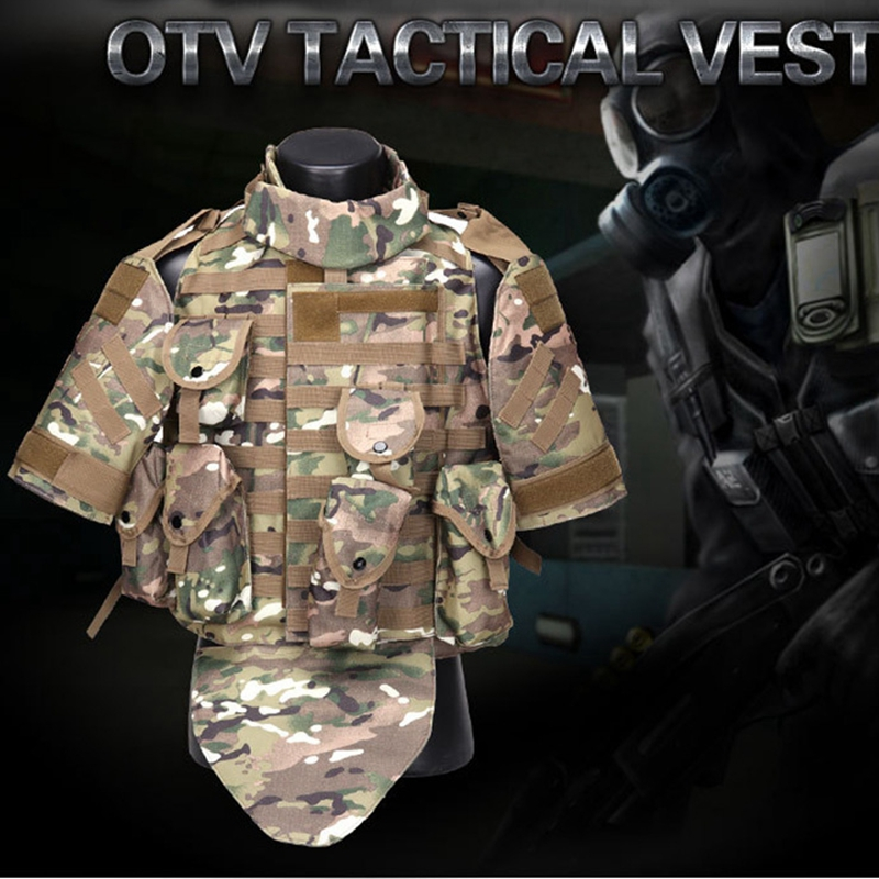 OTV Tactical Vest Combat Protective Armor with Pouch Pad USMC Airsoft Molle Assault Plate Carrier