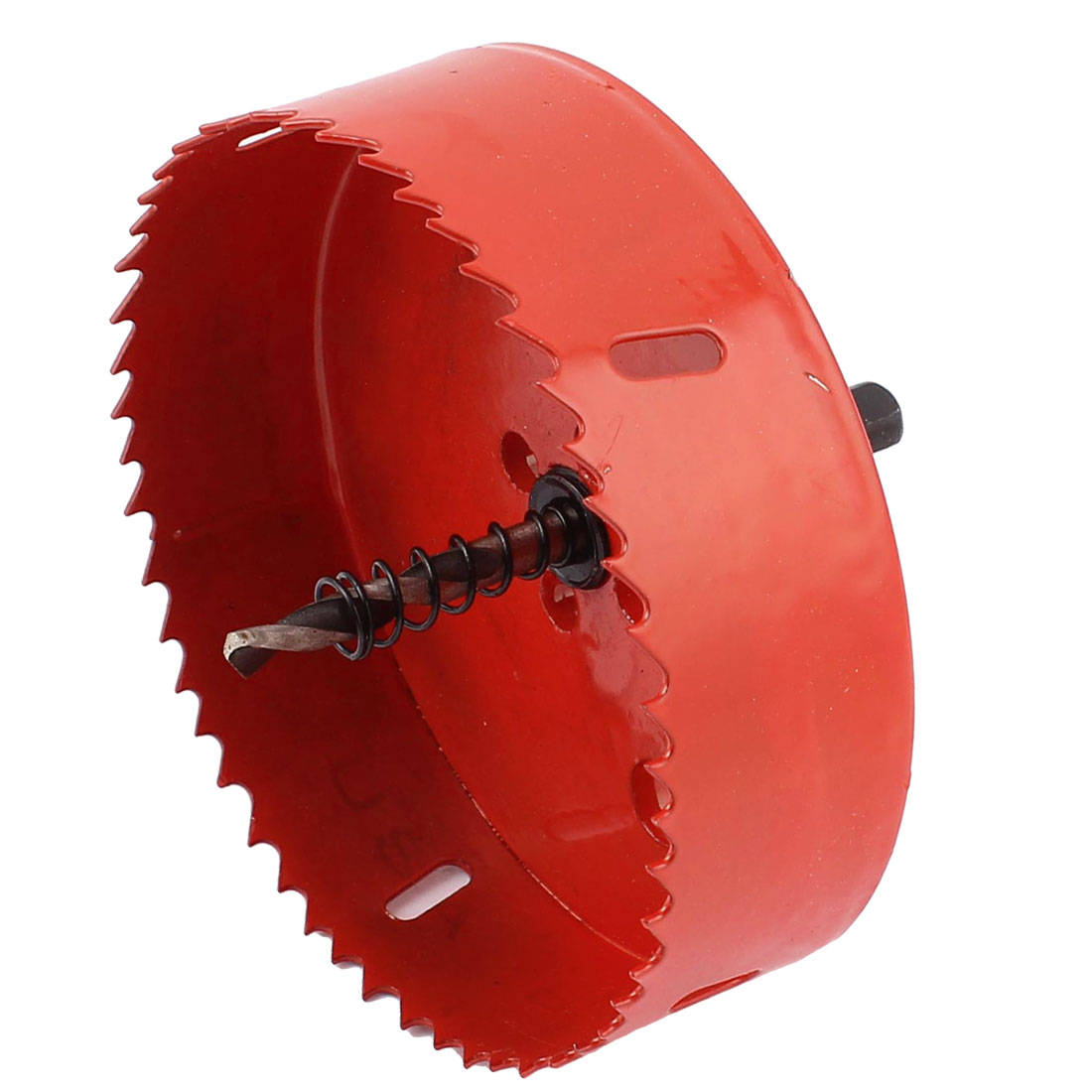 Подробнее о UXCELL 120Mm Cutting Dia Toothed Bi-Metal Hole Saw Cutter Drill Bit Red For Wood Iron uxcell m42 hss triangle shank bi metal hole saw drill cutter 82mm long 28mm cutting dia