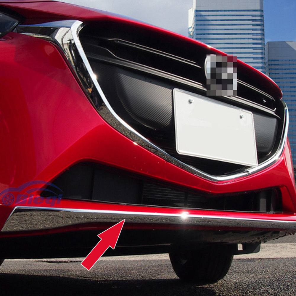 TEAEGG Chrome Car Front Bumper Guard Cover Molding Trim For Mazda 2 DEMIO 2015 2016 3pcs abs chrome rear bumper molding cover trim for mazda 3 mazda3 axela 2014 2015