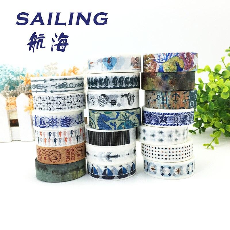 (5 pieces/lot) Sailing Washi Tape European Style Masking Tape DIY Scrapbooking Sticker 10 Meters Long 5 pieces lot pw3300b 30l