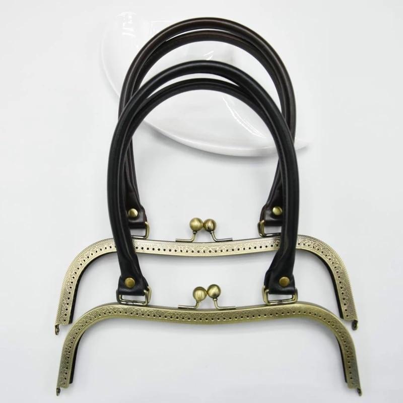 PU lederen handvat gesneden rand M vorm 27cm big size vrouwen clutch tas metalen sluiting vrouwelijke portemonnee frame 2pcs / lot photo review