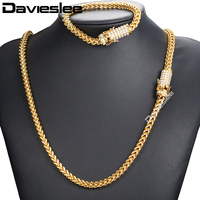 Davieslee Miami Fraco Box Womens Mens Jewelry Set Iced Out Cubic Zirconia CZ 316L Stainless Steel