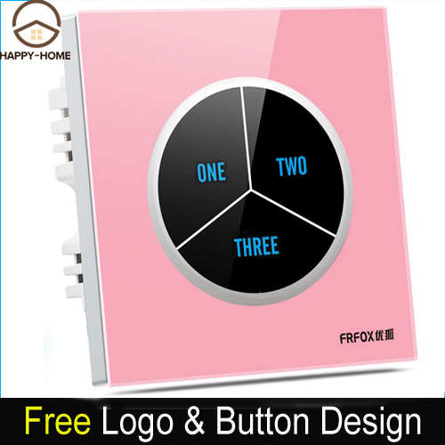 Pink Luxury 3 gangs 1 way Glass Screen Touch Light Wall Switch, Electrical 110V~250V touch wall switch and socket,Free Shipping new design 2 gangs 1 way crystal glass led black touch switches wallpad ac 110 250v wall light touch screen switch free shipping