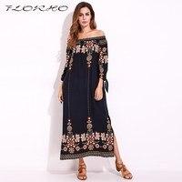 Boho Floral Maxi Dress Long Summer Dress Women Long Sleeve Sexy Split Shift Dress Elegant Party